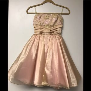 XOXO Gold and Pink Cocktail Dress w/ Crinoline